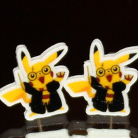 Pikachu Dressed as Harry Potter Pokemon Inspired Stud Earrings Unique