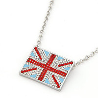 Hot Rhinestone British Flag Pendant Necklace wholesale