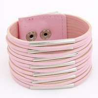 Pink Faux Leather Multi Layers Bangle Bracelet wholesale
