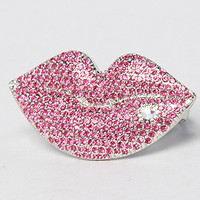 The Film Noir Crystal Lips Two Finger Ring