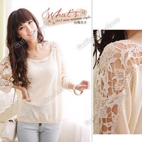 Womens Sweet Long Batwing Sleeve Crew Neck Casual Loose Knit Tops T-Shirt Blouse