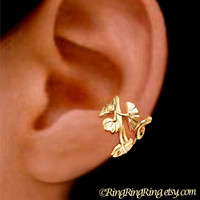 24K Gold Art Nouveau ear cuff earring jewelry - non pierced,  Left flower earcuff clip 111312
