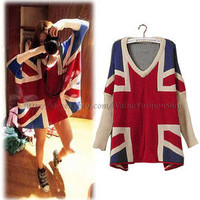 Korean Fashion Womens Batwing V neck Jumper Loose Union Jack Pullover Sweater