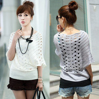 Korean sweet Women's loose Batwing Sleeve Knitted Hollow Pullover Sweater