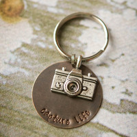 Camera Key Chain - Hand Stamped Capture Life Photographer Key Chain
