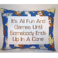 Funny Cross Stitch Pillow, Blue and Brown Pillow, Dog Quote