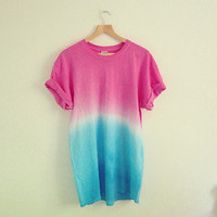 Pink/Blue Hand Made Dip Dye Tie Boyfriend T-Shirt Ombre Tee Oversized Grunge!
