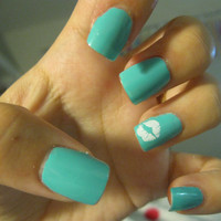 Tiffany Blue Nails with kiss marks