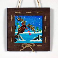 Christmas Wall Hanging: Rustic Wood Mounted Reindeer Print Door Hanger