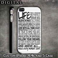Life Quotes custom Black iPhone Case 4 / 4S and also iphone 5 Apple Phone Hard Cover Plastic