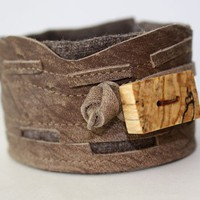 Leather Cuff and Wood Cuff by Waterrose on Etsy