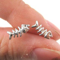 Small Fish Bone Animal Stud Earrings in Silver