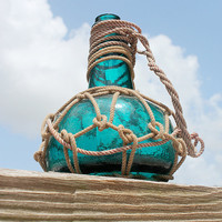 Vintage Aqua  Blue Glass Pirates Rum Jug in Rope by SEASTYLE