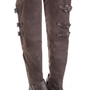 Grey Faux Suede Leather Toe Strapped Thigh High Boots @ Amiclubwear Boots Catalog:women's winter boots,leather thigh high boots,black platform knee high boots,over the knee boots,Go Go boots,cowgirl boots,gladiator boots,womens dress boots,skirt boots,pin