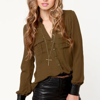 Leather Underground Olive Green Button-Up Top
