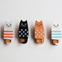 Miranda Wooden Cat Clothespin Set