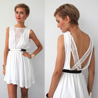 WHITE LACE INSERTED CROSS BACK BACKLESS CUT OUT GRECIAN DRESS 8 10 12