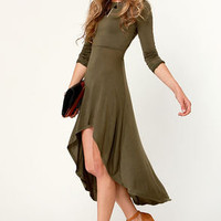 For the Longest Time Backless Olive Green Dress