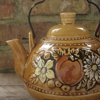 Fall Autumn Caramel Colored Teapot