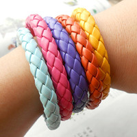 Christmas Gift Winter 5 Natural Colours Wrap Braided Leather Adjustable Bracelet - Choose Your Color S-7