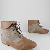 linen inset ankle boot &amp;#36;25.30 in BLACK TAN - New Shoes | GoJane.com