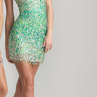 Neon Green Ombre Sequin Strapless Fitted Homecoming Dress