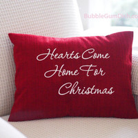 Red Holiday Decor Pillow Cover Embroidered Saying Hearts Come Home for Christmas 12 x 16