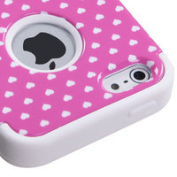 Apple iPhone 5 Rubber IMPACT TUFF HYBRID Case Skin Phone Cover Pink Heart Dots