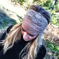 Taupe Lace Headband Head Wrap Women's Wide Hair Band Urban Turban Headbands (HBM-06)