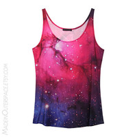 Pink/Purple Galaxy Stars Universe Tank Top Tee T-Shirt