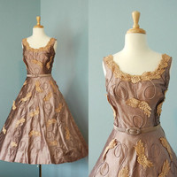 1950s Cocktail Dress / Designer Vintage Silk by DalenaVintage