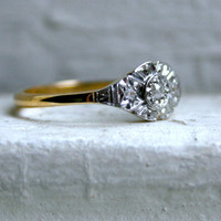 Sweet Antique 18K Yellow Gold/ Platinum Diamond Three Stone Engagement Ring.