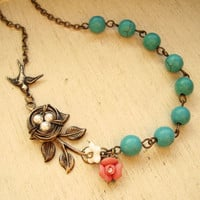 Vintage Style Birds Nest Necklace, Wire Wrapped Bronze Bird Nest, Turquoise & Pearl Nest Jewelry, Bronzed Leaves Necklace, Coral Rose Charm