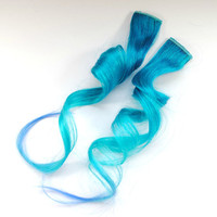 Blue Blizzard / Human Hair Extension / Blue / Long Tie Dye Colored Hair