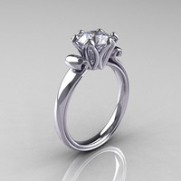 Modern Antique 10K White Gold 1.5 Carat CZ Solitaire Engagement Ring AR127-10WGCZ