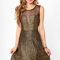 Aryn K Gild-y Party Black and Gold Dress