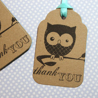 Owl Favor Tags Wish tree Set of 10 Large Size Thank You Wedding Birthday Baby  Bridal Shower Rustic Cottage Chic Party Favors