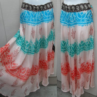 Bohemian Gypsy Maxi Skirt // Silk Pastel Batik Print // Flowy Long Skirt