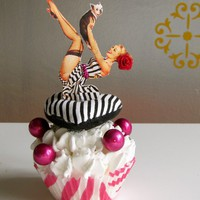 Fake Cupcake Retro Inspired Pin Up Girl Lying on Heart Shaped Striped Pillow with Puppy and Bubbles Standard Sized Limited Edition