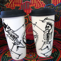 Fred & Ginger Dancing Skeletons Travel Mug with Silicone Lid, Sleeve and Extra Colorful Lid