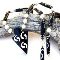 Yin Yang Arrowhead Batik Bone Handmade Necklace Pearls OOAK Jewelry