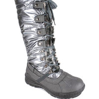 fur-trim-lace-up-nylon-boot GREY - GoJane.com