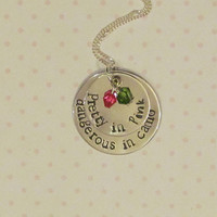 Country Girl Necklace -- Pretty in Pink, Dangerous in Camo Necklace -- Hand Stamped Jewelry