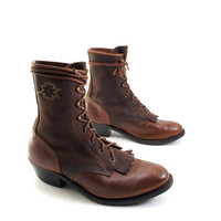 Men&#x27;s Lace Up Roper Ankle Boots in a Two Tone Brown by rabbitboxer