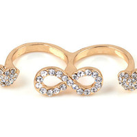 Infinity Love  Heart Double Ring
