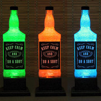 KEEP CALM and DO A SHOT Whiskey Bottle Color Changing LED Remote Control Jack