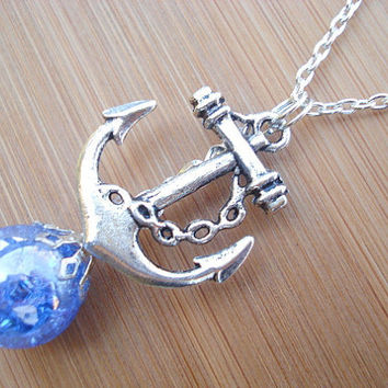 Nautical Anchor Deep Blue Crackle Glass Marble Necklace