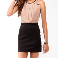 Pleated Duo-Toned Sheath Dress