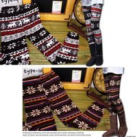 Nordic Pattern Wool Blend Thermal Knit Leggings Tights