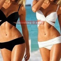Sexy Women Push Up Padded Bikini Trikini Swimwear Swimsuit White Black 2 PCS SML